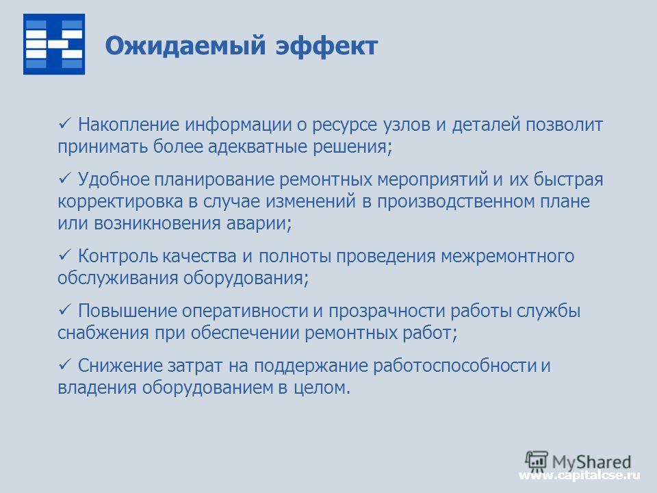 Ожидаемый эффект www.capitalcse.ru Накопление информации о ресурсе узлов и деталей позволит принимать более адекватные решения; Удобное планирование ремонтных мероприятий и их быстрая корректировка в случае изменений в производственном плане или возн