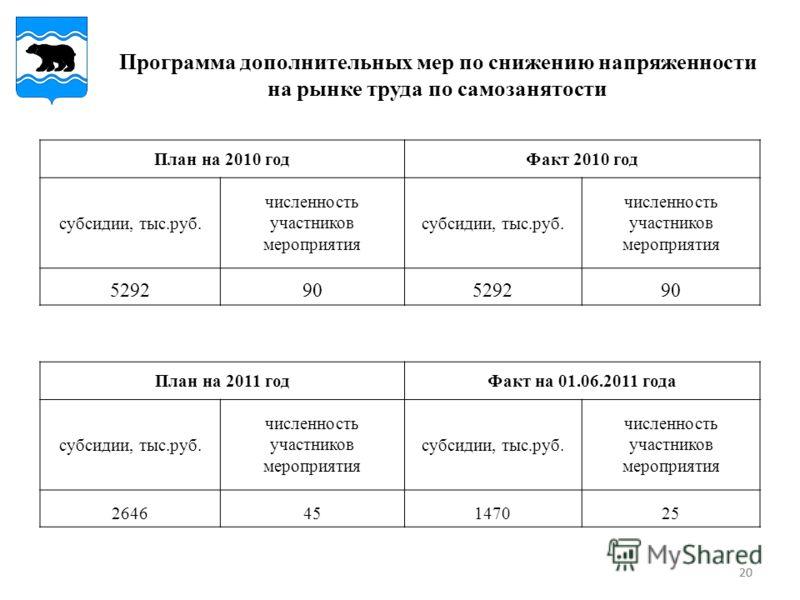 20 Программа дополнительных мер по снижению напряженности на рынке труда по самозанятости План на 2010 годФакт 2010 год субсидии, тыс.руб. численность участников мероприятия субсидии, тыс.руб. численность участников мероприятия 529290529290 План на 2