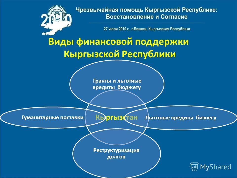 Виды финансовой поддержки Кыргызской Республики Кыргызстан Гранты и льготные кредиты бюджету Льготные кредиты бизнесу Реструктуризация долгов Гуманитарные поставки