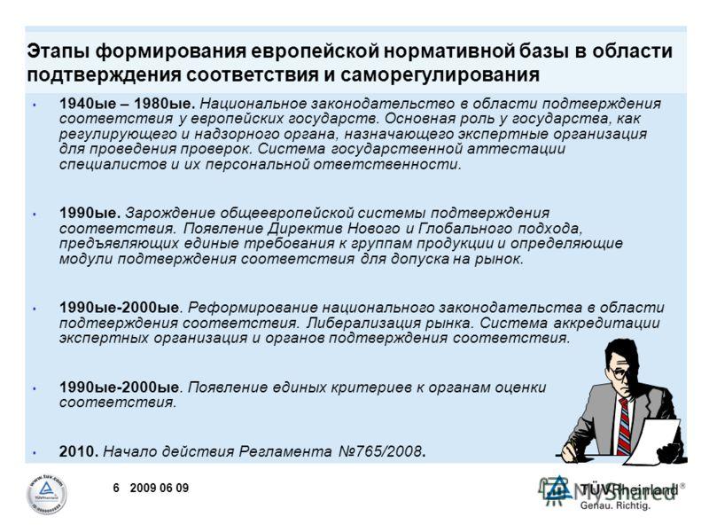 6 2009 06 09 1940ые – 1980ые. Национальное законодательство в области подтверждения соответствия у европейских государств. Основная роль у государства, как регулирующего и надзорного органа, назначающего экспертные организация для проведения проверок