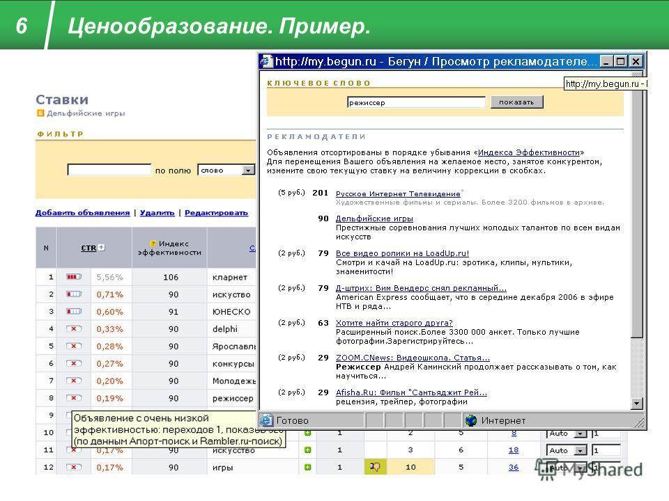 6 Ценообразование. Пример. © 2007, ЗАО «Бегун»