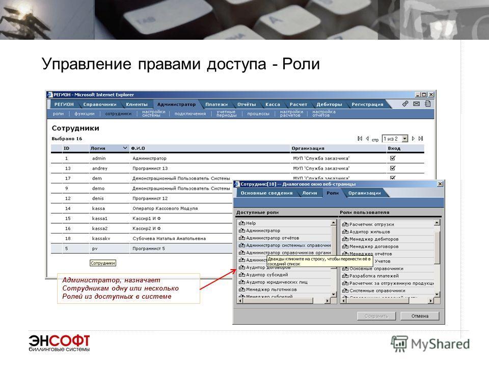Управление правами доступа - Роли Администратор, назначает Сотрудникам одну или несколько Ролей из доступных в системе