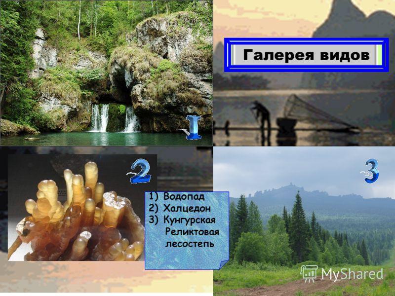 Галерея видов 1)Водопад 2)Халцедон 3)Кунгурская Реликтовая лесостепь