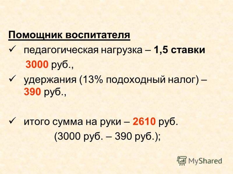 Помощник воспитателя педагогическая нагрузка – 1,5 ставки 3000 руб., удержания (13% подоходный налог) – 390 руб., итого сумма на руки – 2610 руб. (3000 руб. – 390 руб.);