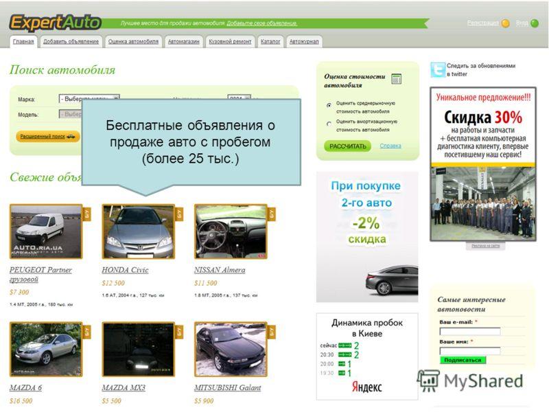 Бесплатные объявления о продаже авто с пробегом (более 25 тыс.)