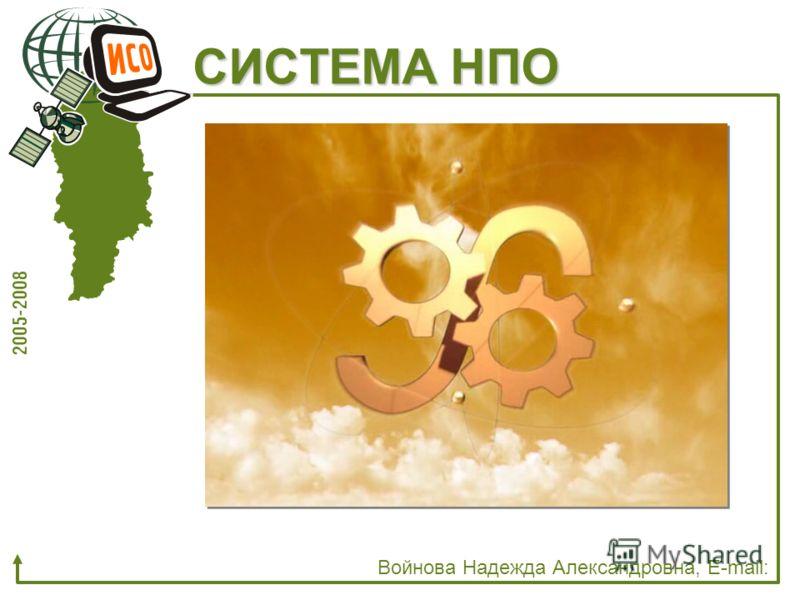 СИСТЕМА НПО Войнова Надежда Александровна, E-mail: