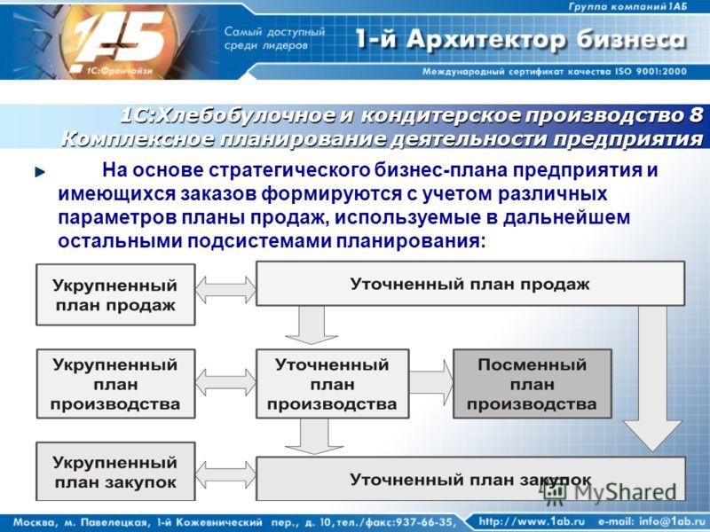 1С:Хлебобулочное и кондитерское производство 8 Комплексное планирование деятельности предприятия На основе стратегического бизнес-плана предприятия и имеющихся заказов формируются с учетом различных параметров планы продаж, используемые в дальнейшем