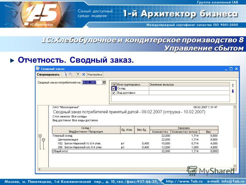 1С:Хлебобулочное и кондитерское производство 8 Управление сбытом Отчетность. Сводный заказ.