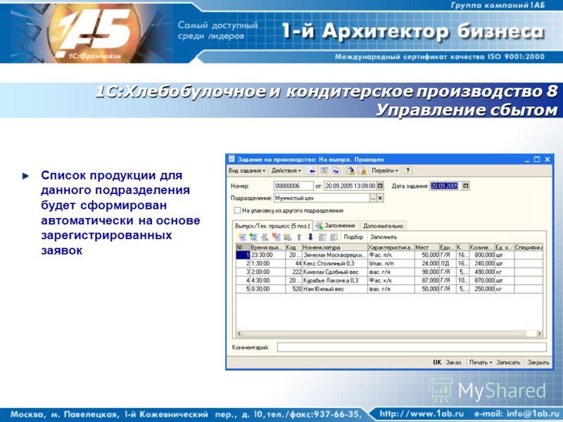 1С:Хлебобулочное и кондитерское производство 8 Управление сбытом Список продукции для данного подразделения будет сформирован автоматически на основе зарегистрированных заявок