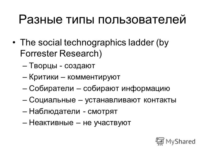 Разные типы пользователей The social technographics ladder (by Forrester Research) –Творцы - создают –Критики – комментируют –Собиратели – собирают информацию –Социальные – устанавливают контакты –Наблюдатели - смотрят –Неактивные – не участвуют