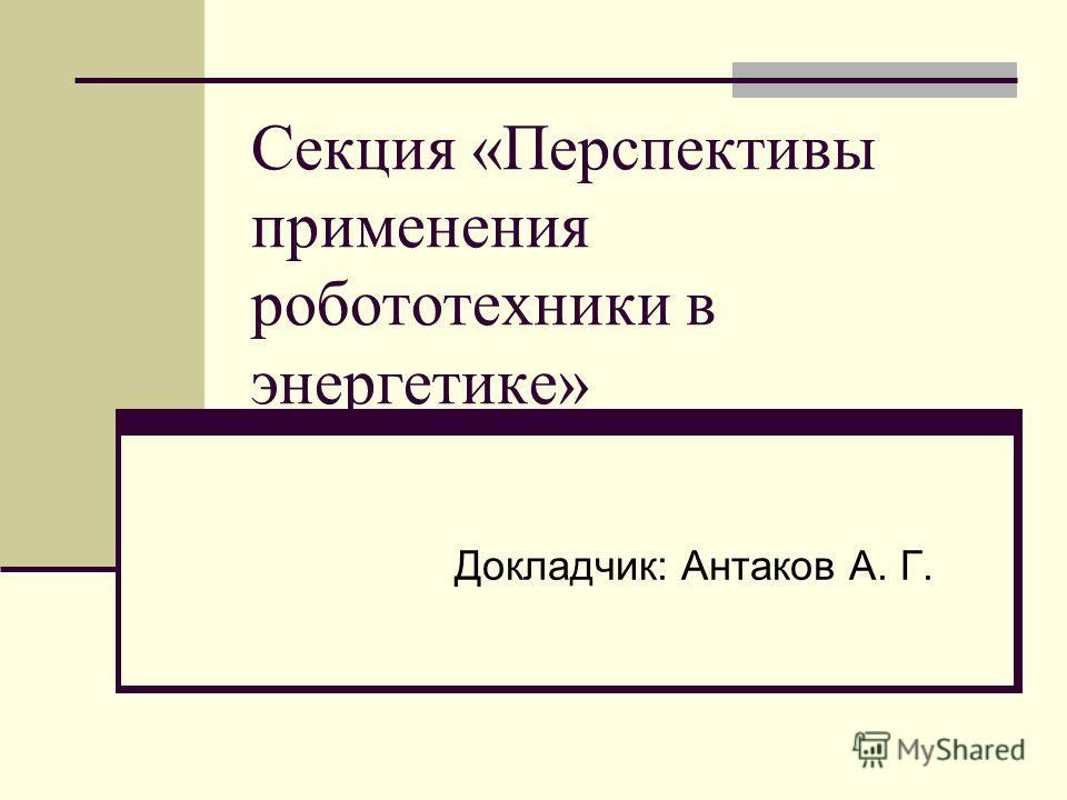 Секция «Перспективы применения робототехники в энергетике» Докладчик: Антаков А. Г.