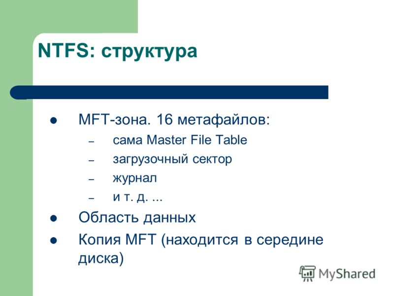 NTFS: структура MFT-зона. 16 метафайлов: – сама Master File Table – загрузочный сектор – журнал – и т. д.... Область данных Копия MFT (находится в середине диска)