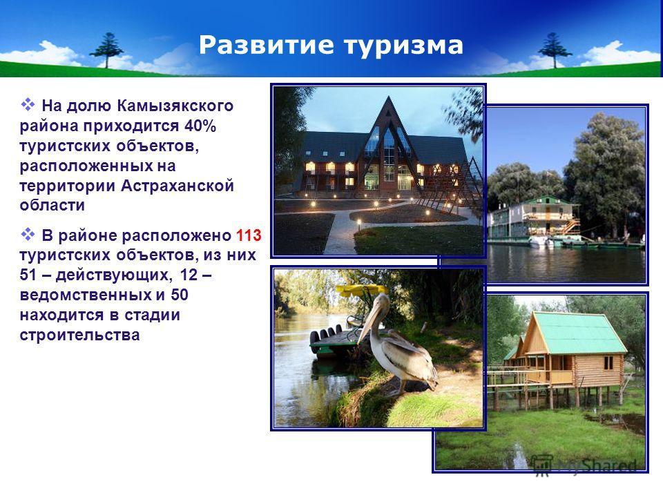 www.themegallery.com Company Logo Развитие туризма На долю Камызякского района приходится 40% туристских объектов, расположенных на территории Астраханской области В районе расположено 113 туристских объектов, из них 51 – действующих, 12 – ведомствен