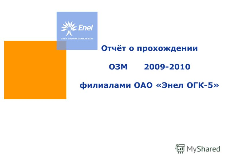 Отчёт о прохождении ОЗМ 2009-2010 филиалами ОАО «Энел ОГК-5»