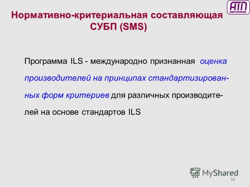 12 Функциональная схема СУБП в Авиационном Комплексе России Поставщикиобслуживания Предприятияиндустрии Критериальная база обеспечения летной год- ностипостав- щиков услуг (отстаточные риски) Корректиующие действия Корректирующие действия RR П = R R