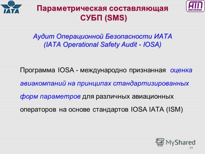 13 Нормативно-критериальная составляющая СУБП (SMS) Программа ILS - международно признанная оценка производителей на принципах стандартизирован- ных форм критериев для различных производите- лей на основе стандартов ILS