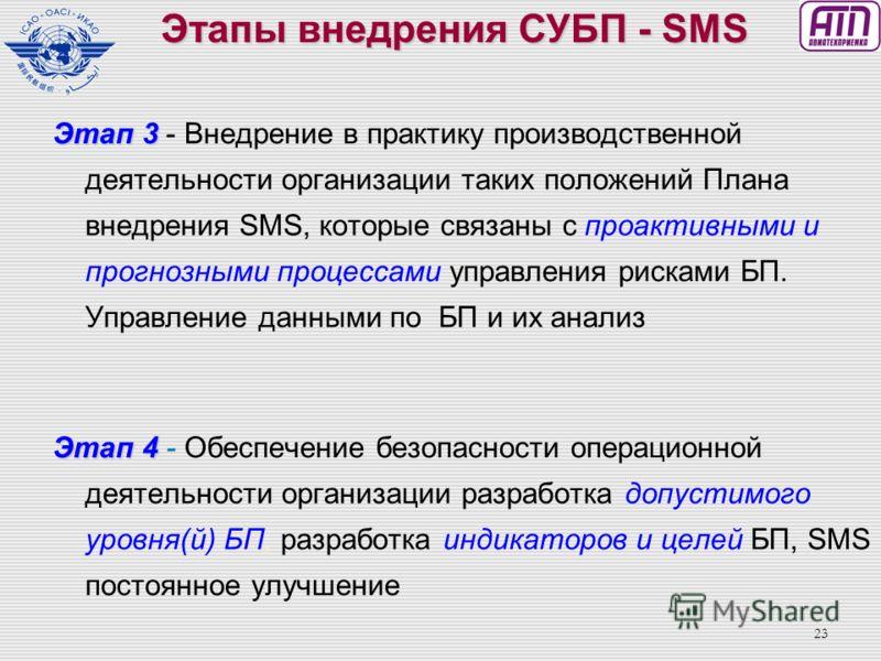 22 Этап 1 Этап 1 – План оценки каким образом могут быть удовлетворены требования SMS и как они могут быть интегрированы в производственную деятельность организации и каким образом будут реализованы полномочия по применению SMS. Этап 2 Этап 2 – Внедре