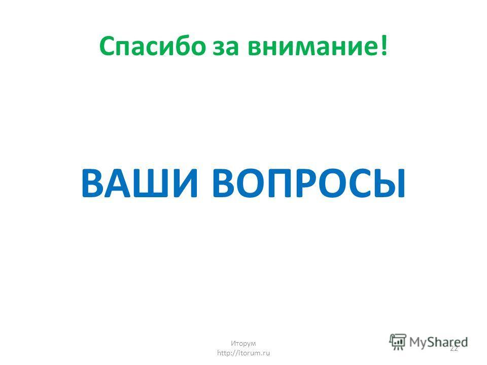 Спасибо за внимание! ВАШИ ВОПРОСЫ Иторум http://itorum.ru 22
