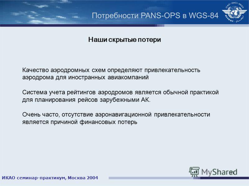 ИКАО семинар-практикум, Москва 2004 11 Наши скрытые потери Качество аэродромных схем определяют привлекательность аэродрома для иностранных авиакомпаний Система учета рейтингов аэродромов является обычной практикой для планирования рейсов зарубежными