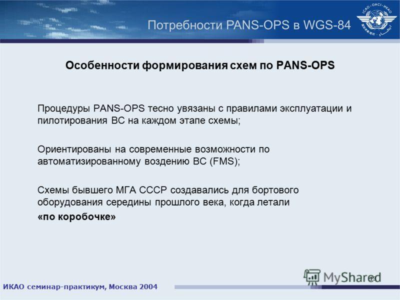 ИКАО семинар-практикум, Москва 2004 13 Особенности формирования схем по PANS-OPS Процедуры PANS-OPS тесно увязаны с правилами эксплуатации и пилотирования ВС на каждом этапе схемы; Ориентированы на современные возможности по автоматизированному возде