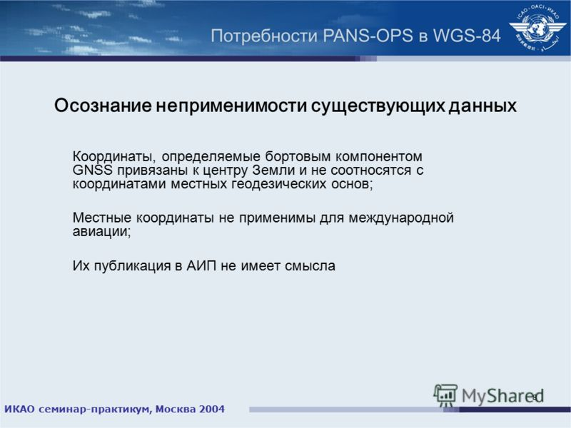 ИКАО семинар-практикум, Москва 2004 8 Осознание неприменимости существующих данных Координаты, определяемые бортовым компонентом GNSS привязаны к центру Земли и не соотносятся с координатами местных геодезических основ; Местные координаты не применим