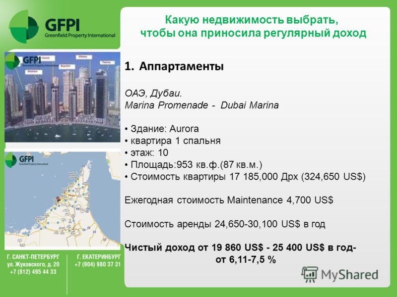 Какую недвижимость выбрать, чтобы она приносила регулярный доход 1.Аппартаменты ОАЭ, Дубаи. Marina Promenade - Dubai Marina Здание: Aurora квартира 1 спальня этаж: 10 Площадь:953 кв.ф.(87 кв.м.) Стоимость квартиры 17 185,000 Дрх (324,650 US$) Ежегодн