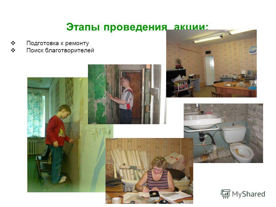 Этапы проведения акции: Подготовка к ремонту Поиск благотворителей