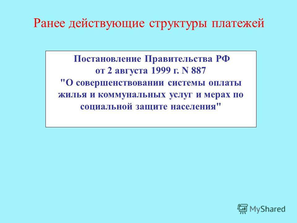 Ранее действующие структуры платежей Постановление Правительства РФ от 2 августа 1999 г. N 887 О совершенствовании системы оплаты жилья и коммунальных услуг и мерах по социальной защите населения