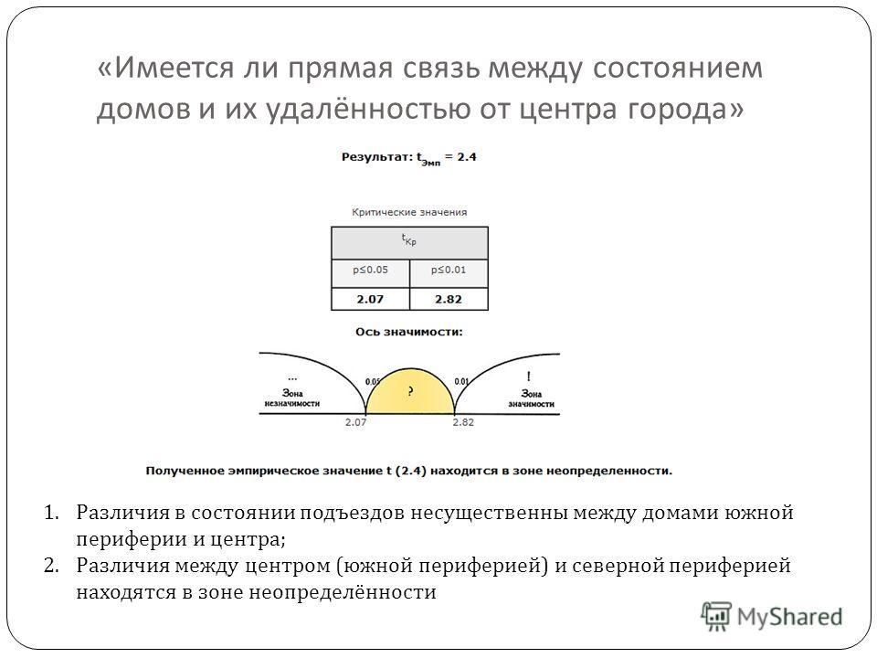 « Имеется ли прямая связь между состоянием домов и их удалённостью от центра города » 1.Различия в состоянии подъездов несущественны между домами южной периферии и центра; 2.Различия между центром (южной периферией) и северной периферией находятся в