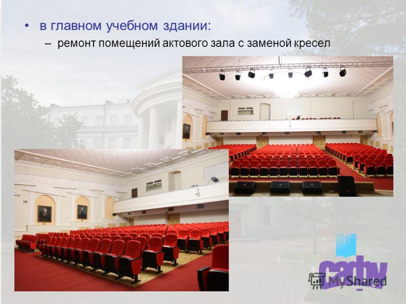 в главном учебном здании: –ремонт помещений актового зала с заменой кресел