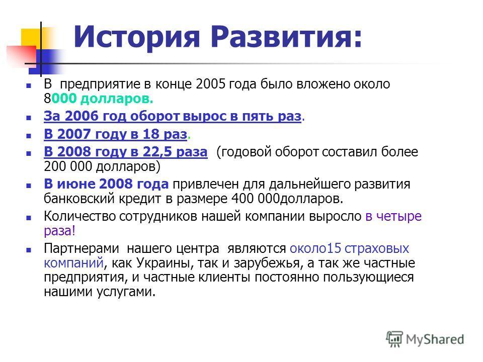 История Развития: В предприятие в конце 2005 года было вложено около 8000 долларов. За 2006 год оборот вырос в пять раз. В 2007 году в 18 раз. В 2008 году в 22,5 раза (годовой оборот составил более 200 000 долларов) В июне 2008 года привлечен для дал