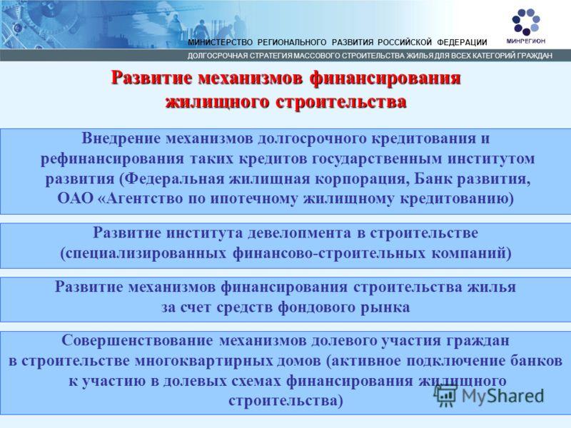 15 МИНИСТЕРСТВО РЕГИОНАЛЬНОГО РАЗВИТИЯ РОССИЙСКОЙ ФЕДЕРАЦИИ ДОЛГОСРОЧНАЯ СТРАТЕГИЯ МАССОВОГО СТРОИТЕЛЬСТВА ЖИЛЬЯ ДЛЯ ВСЕХ КАТЕГОРИЙ ГРАЖДАН Развитие механизмов финансирования жилищного строительства Совершенствование механизмов долевого участия гражд
