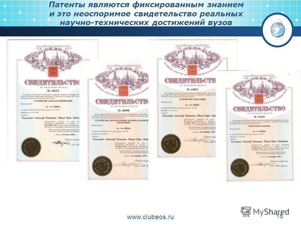 www.clubeos.ru 15 Патенты являются фиксированным знанием и это неоспоримое свидетельство реальных научно-технических достижений вузов