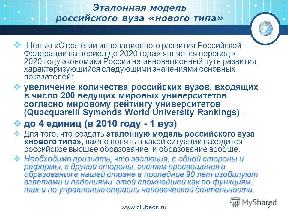 www.clubeos.ru 2 Эталонная модель российского вуза «нового типа» Целью «Стратегии инновационного развития Российской Федерации на период до 2020 года» является перевод к 2020 году экономики России на инновационный путь развития, характеризующийся сле