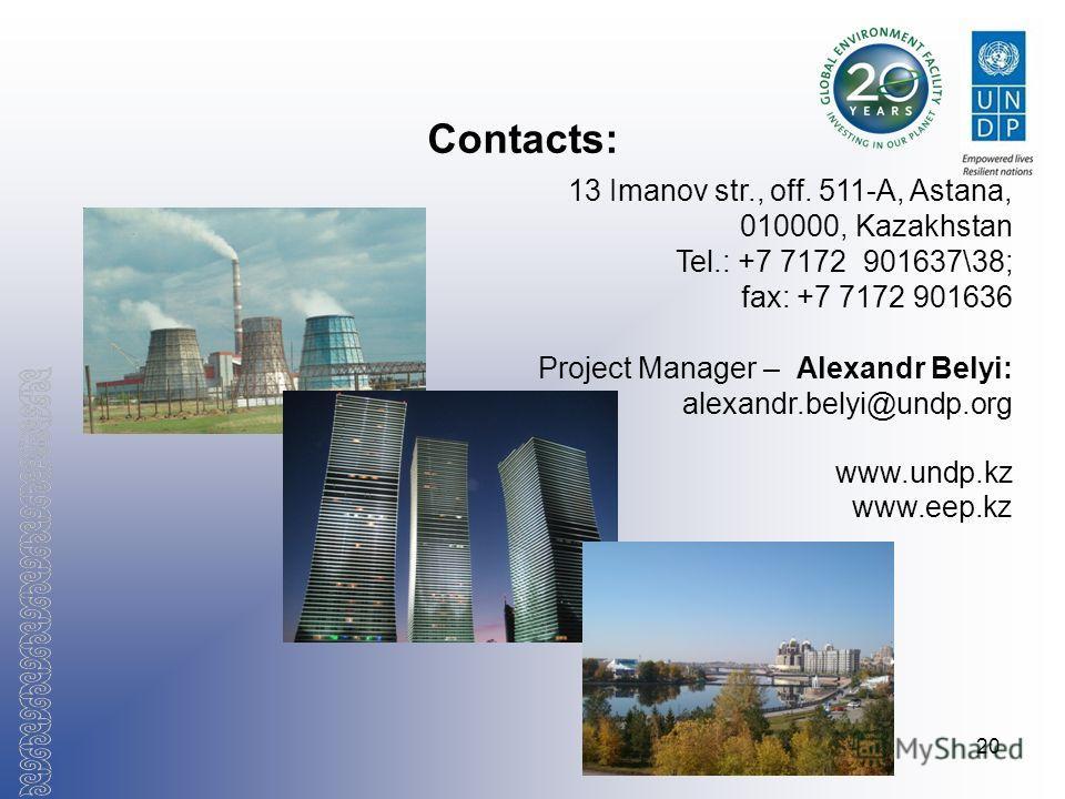 20 Contacts: 13 Imanov str., off. 511-А, Astana, 010000, Kazakhstan Tel.: +7 7172 901637\38; fax: +7 7172 901636 Project Manager – Alexandr Belyi: alexandr.belyi@undp.org www.undp.kz www.eep.kz