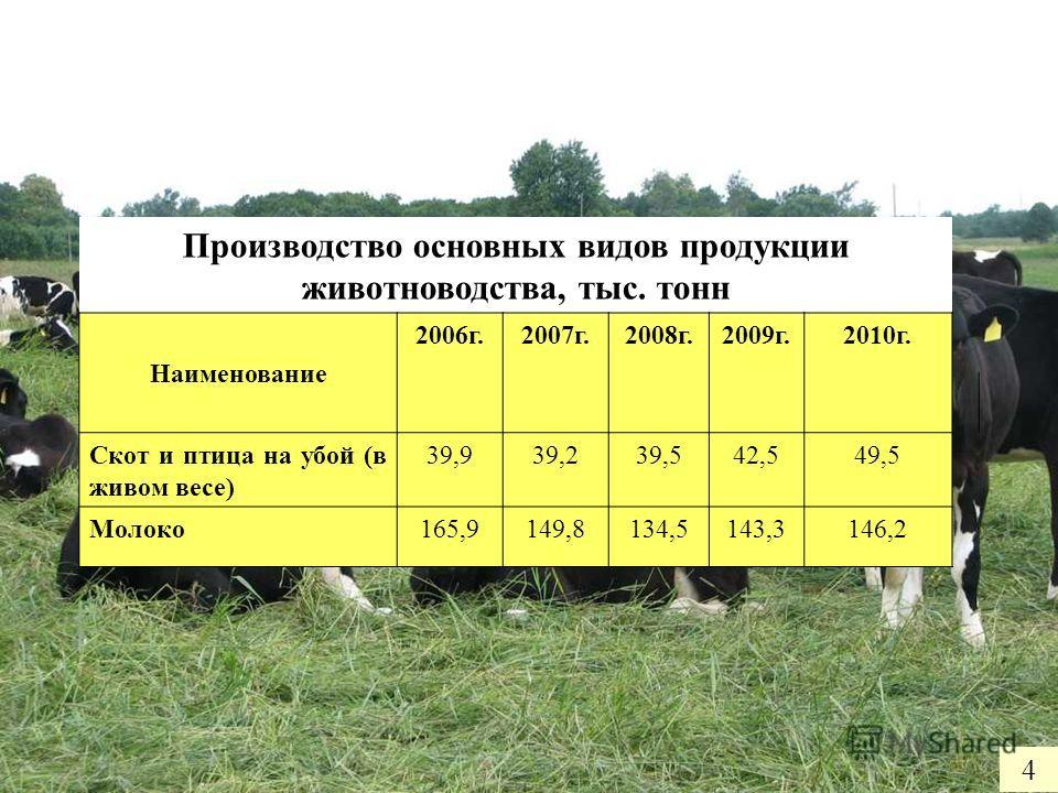 4 Производство основных видов продукции животноводства, тыс. тонн Наименование 2006г.2007г.2008г.2009г.2010г. Скот и птица на убой (в живом весе) 39,939,239,542,549,5 Молоко165,9149,8134,5143,3146,2