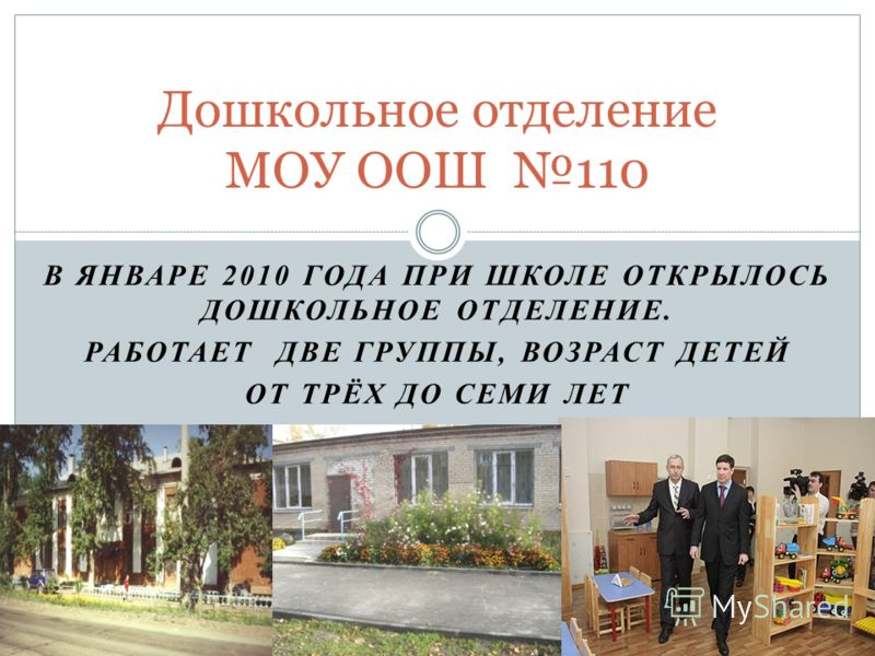 В ЯНВАРЕ 2010 ГОДА ПРИ ШКОЛЕ ОТКРЫЛОСЬ ДОШКОЛЬНОЕ ОТДЕЛЕНИЕ. РАБОТАЕТ ДВЕ ГРУППЫ, ВОЗРАСТ ДЕТЕЙ ОТ ТРЁХ ДО СЕМИ ЛЕТ Дошкольное отделение МОУ ООШ 110