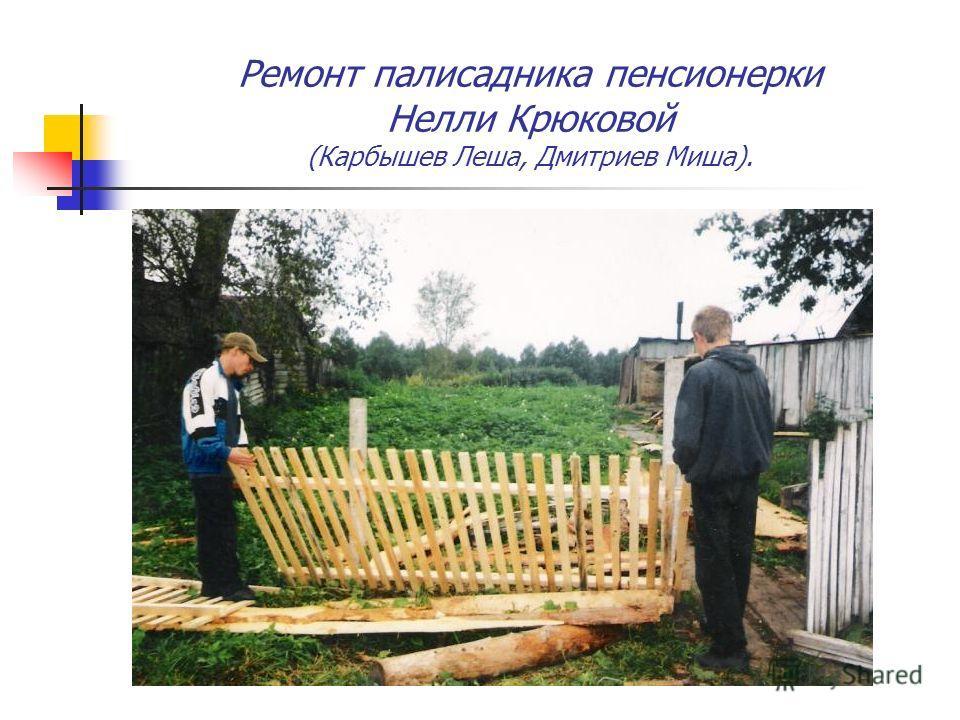 Ремонт палисадника пенсионерки Нелли Крюковой (Карбышев Леша, Дмитриев Миша).