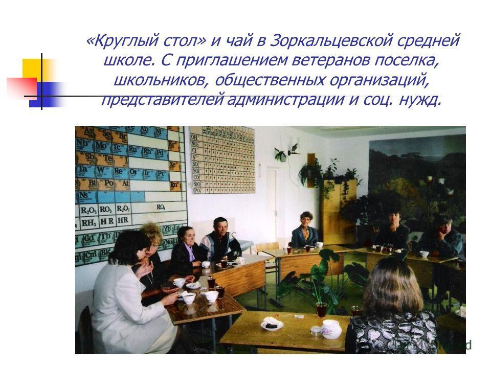 «Круглый стол» и чай в Зоркальцевской средней школе. С приглашением ветеранов поселка, школьников, общественных организаций, представителей администрации и соц. нужд.