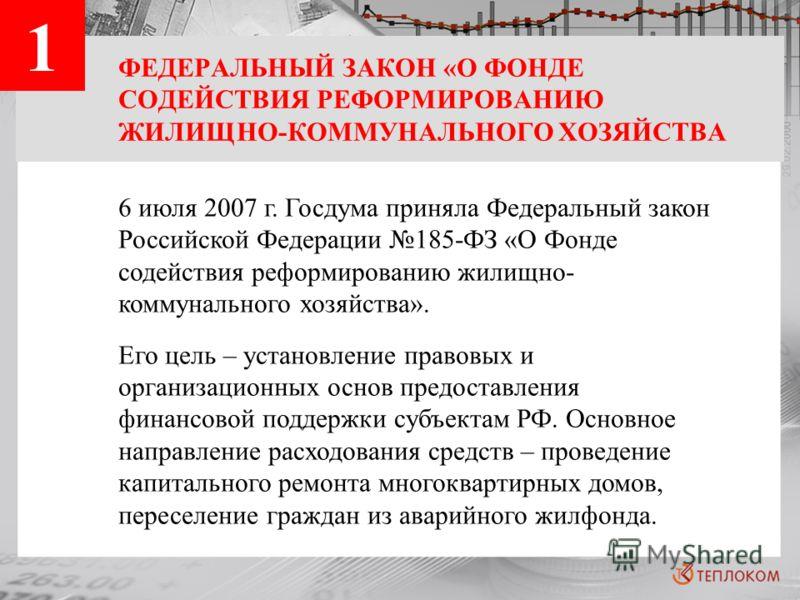 ФЕДЕРАЛЬНЫЙ ЗАКОН «О ФОНДЕ СОДЕЙСТВИЯ РЕФОРМИРОВАНИЮ ЖИЛИЩНО-КОММУНАЛЬНОГО ХОЗЯЙСТВА 6 июля 2007 г. Госдума приняла Федеральный закон Российской Федерации 185-ФЗ «О Фонде содействия реформированию жилищно- коммунального хозяйства». Его цель – установ