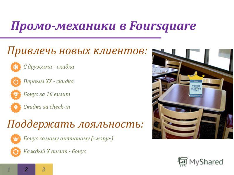 1 1 3 3 2 2 Промо-механики в Foursquare Привлечь новых клиентов: С друзьями - скидка Первым ХХ - скидка Бонус за 1й визит Скидка за check-in Поддержать лояльность: Бонус самому активному («мэру») Каждый Х визит - бонус