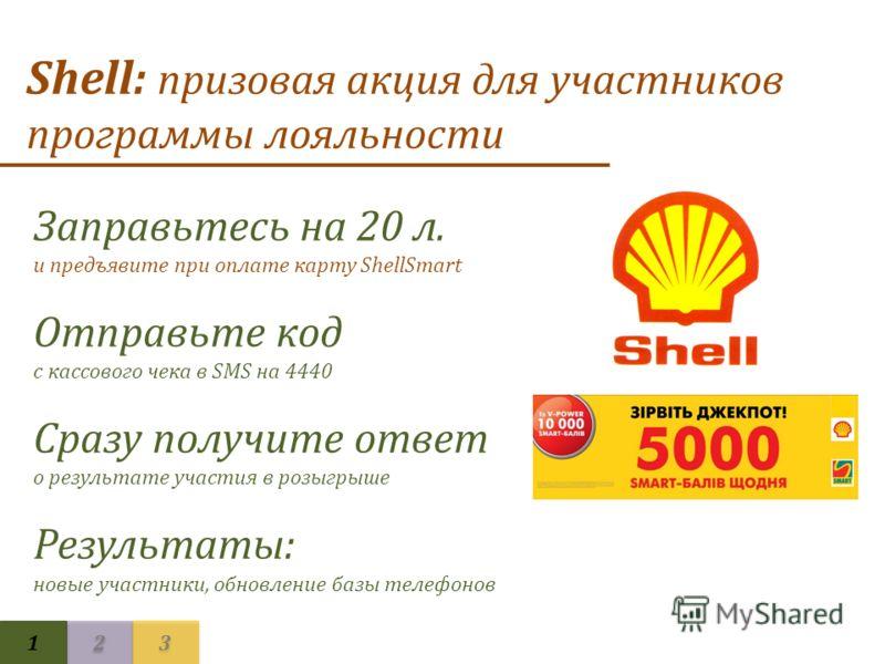 Shell: призовая акция для участников программы лояльности Заправьтесь на 20 л. и предъявите при оплате карту ShellSmart Отправьте код с кассового чека в SMS на 4440 Сразу получите ответ о результате участия в розыгрыше Результаты: новые участники, об