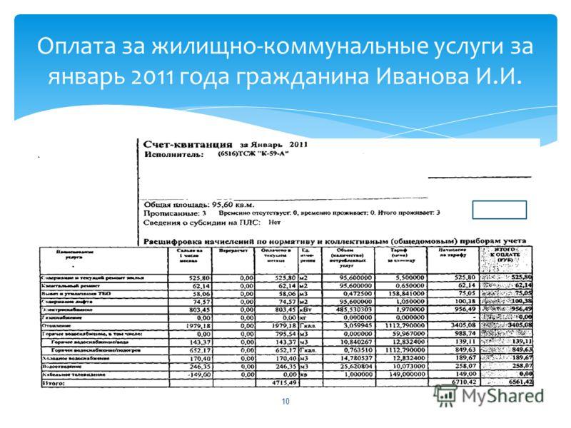 10 Оплата за жилищно-коммунальные услуги за январь 2011 года гражданина Иванова И.И.