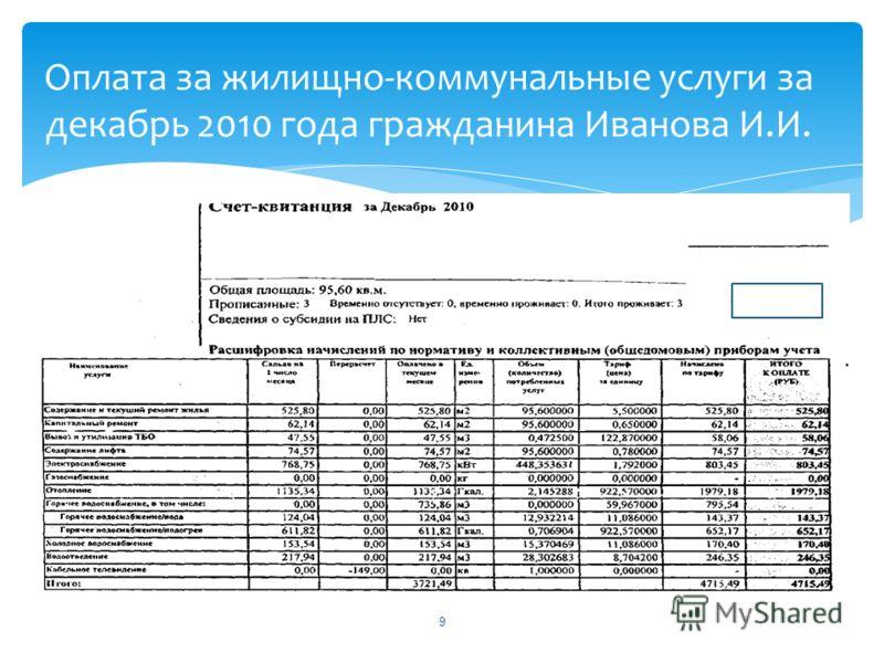 9 Оплата за жилищно-коммунальные услуги за декабрь 2010 года гражданина Иванова И.И.