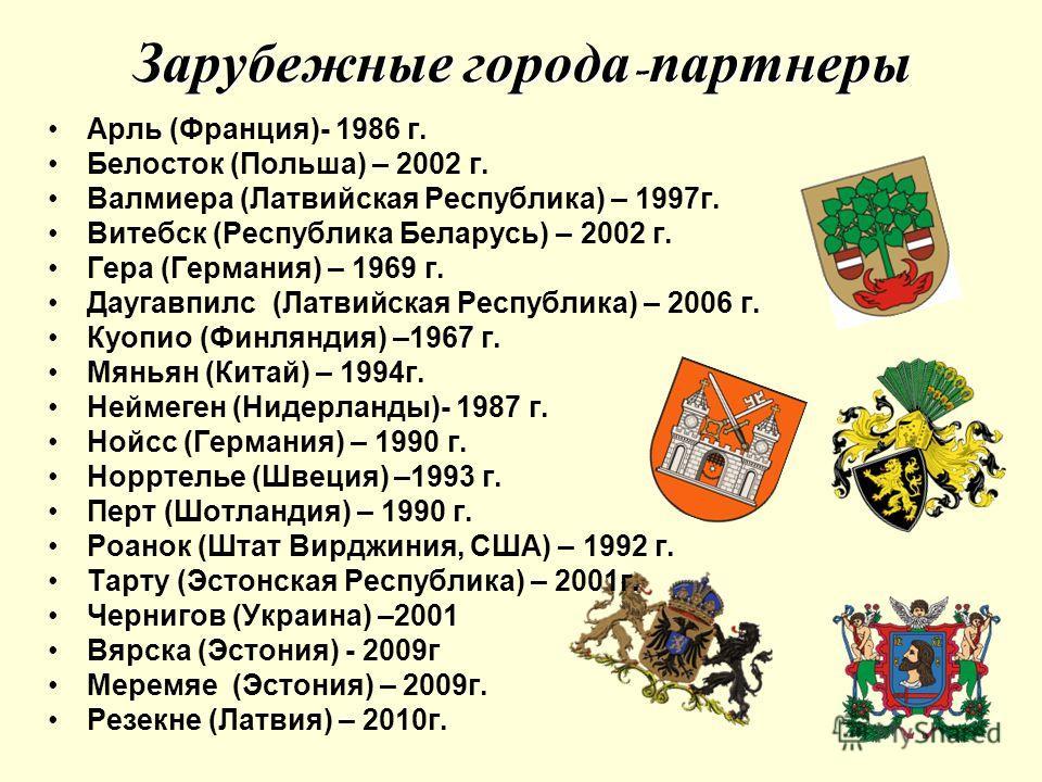 Зарубежные города - партнеры Арль (Франция)- 1986 г. Белосток (Польша) – 2002 г. Валмиера (Латвийская Республика) – 1997г. Витебск (Республика Беларусь) – 2002 г. Гера (Германия) – 1969 г. Даугавпилс (Латвийская Республика) – 2006 г. Куопио (Финлянди