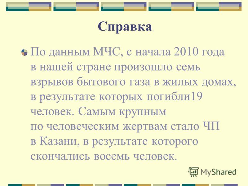 Справка По данным МЧС, с начала 2010 года в нашей стране произошло семь взрывов бытового газа в жилых домах, в результате которых погибли19 человек. Самым крупным по человеческим жертвам стало ЧП в Казани, в результате которого скончались восемь чело
