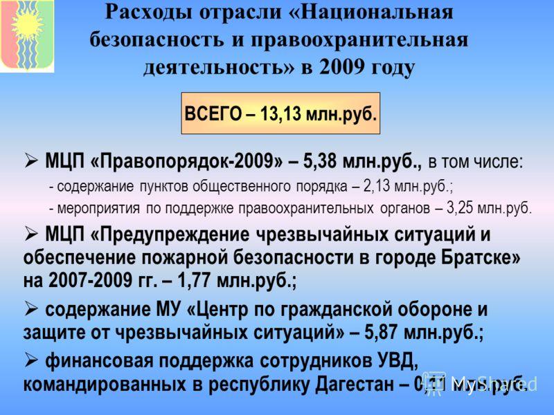 Расходы отрасли «Национальная безопасность и правоохранительная деятельность» в 2009 году МЦП «Правопорядок-2009» – 5,38 млн.руб., в том числе: - содержание пунктов общественного порядка – 2,13 млн.руб.; - мероприятия по поддержке правоохранительных