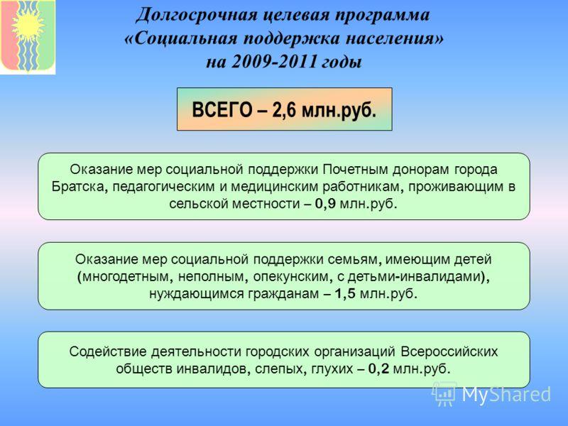 Долгосрочная целевая программа «Социальная поддержка населения» на 2009-2011 годы ВСЕГО – 2,6 млн.руб. Оказание мер социальной поддержки Почетным донорам города Братска, педагогическим и медицинским работникам, проживающим в сельской местности – 0,9
