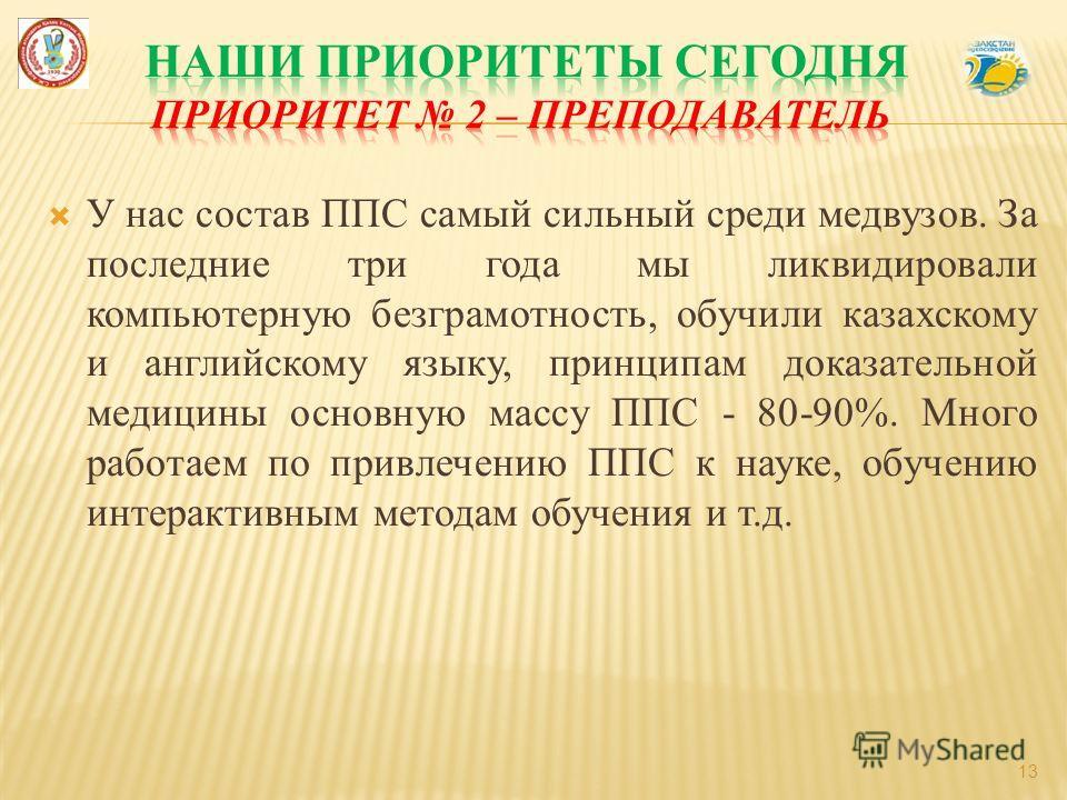 У нас состав ППС самый сильный среди медвузов. За последние три года мы ликвидировали компьютерную безграмотность, обучили казахскому и английскому языку, принципам доказательной медицины основную массу ППС - 80-90%. Много работаем по привлечению ППС