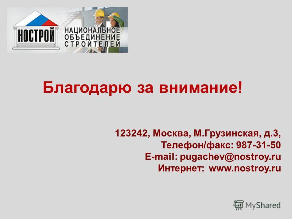 Благодарю за внимание! 123242, Москва, М.Грузинская, д.3, Телефон/факс: 987-31-50 E-mail: pugachev@nostroy.ru Интернет: www.nostroy.ru